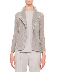 Akris Punto Long Sleeve Mesh Moto Jacket Silver Women's Size 14
