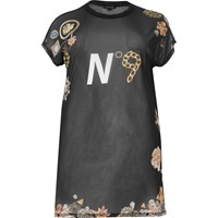 River Island Womens Ri Plus Black Print Mesh Oversized T Shirt