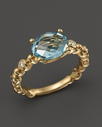 Michael Aram 18K Yellow Gold Single Row Molten Ring With Blue Topaz And Diamond Accents Gold Multi