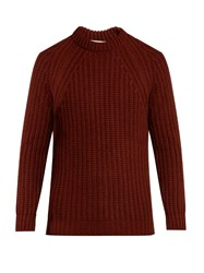 Gieves And Hawkes Crew Neck Cashmere Ribbed Knit Sweater Red