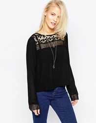 Brave Soul Long Sleeve Blouse With Crochet Yoke Black