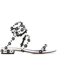 Rene Caovilla Floral Strappy Sandals Black