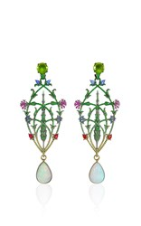 Lydia Courteille Opal And Peridot Drop Earrings Multi