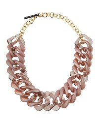 Alisha.D Acrylic Square Link Necklace Md Taupe