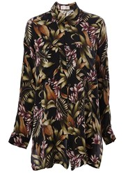 Faith Connexion Floral Print Tunic Shirt Black