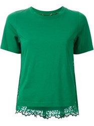 Muveil Lace Back T Shirt Green