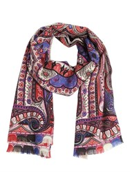 Etro Paisley Graphic Wool And Silk Scarf