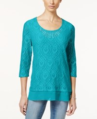 Jm Collection Petite Embellished Crochet Lace Chiffon Trim Tunic Only At Macy's Turquoise