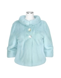 Forzieri Light Blue Mink Fur Two Button Jacket