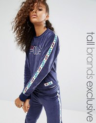 Fila Tall Velour Motif Jumper Navy