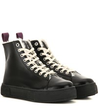 Eytys Kibo Faux Fur Lined Leather High Top Sneakers Black