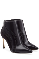 Sergio Rossi Leather Suede And Mesh Booties Black