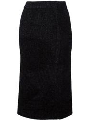 Calvin Klein Collection Glitter Effect Fitted Skirt Black