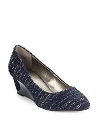 Bandolino Franci Suede Wedge Pumps Navy Blue