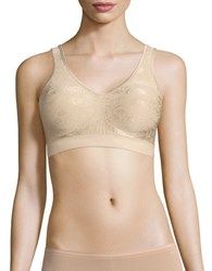 Bali Comfort Revolution Shaping Wirefree Bra With Smart Sizes Nude Floral