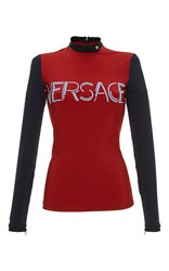 Versace Color Block Graphic Long Sleeve Tee Red Blue