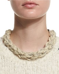 Brunello Cucinelli Monili Chain Rope Collar Necklace Beige