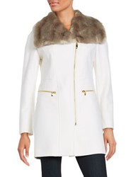 Via Spiga Faux Fur Trimmed Wool Blend Coat Winter White