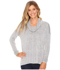 Lucky Brand Cowl Neck Tunic Heather Grey Women's Blouse Gray
