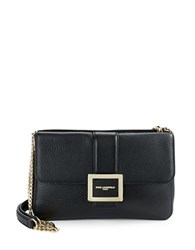 Karl Lagerfeld Pebbled Leather Shoulder Bag Black Gold