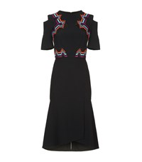 Roland Mouret Moresby Raffia Trim Dress Female Black