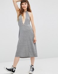 Nytt Elysia Halter Dress With Plunge Front Heather Grey