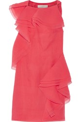 Jason Wu Ruffled Crinkled Silk Blend Organza Dress Coral