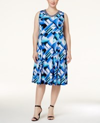 Jm Collection Woman Jm Collection Plus Size Printed Fit And Flare Dress Only At Macy's Turquiose Graph Brick