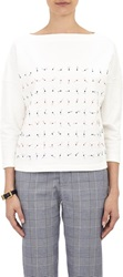 Band Of Outsiders Embroidered Boxy Sweatshirt White Size 1 S