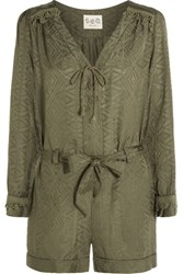 Sea Crochet Trimmed Cotton And Silk Blend Jacquard Playsuit Army Green