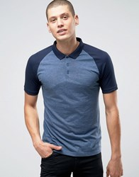 Asos Contrast Raglan Polo Shirt In Blue And Denim Dark Denim Navy