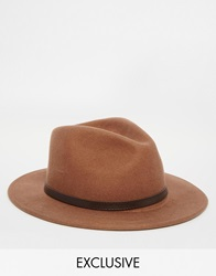 Reclaimed Vintage Fedora With Leather Detail 0