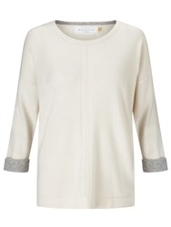 John Lewis Collection Weekend By Cashmere Turned Back Cuff Jumper Ivory Light Grey