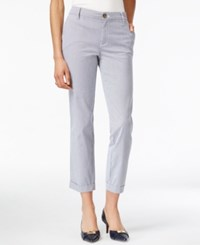 Tommy Hilfiger Striped Cuffed Pants Navy Classic White