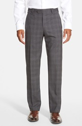 Zanella 'Devon' Flat Front Plaid Wool Trousers Dark Grey