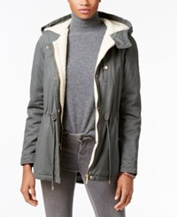 Collection B Juniors' Hooded Faux Sherpa Lined Anorak Coat Only At Macy's Onyx