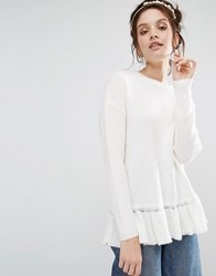 Willow And Paige Relaxed Jumper With Ruffle Hem White