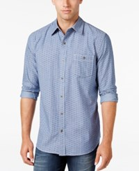 Weatherproof Vintage Men's Denim Micro Shape Long Sleeve Shirt Only At Macy's Blue Stone