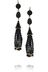 Isabel Marant Gold Plated Agate And Glass Bead Earrings Black