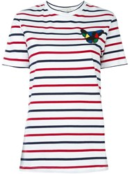 Etre Cecile Dog Patch Striped T Shirt White