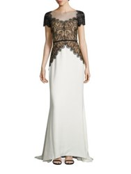Reem Acra Silk Lace Gown Black White