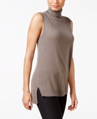 Charter Club Cashmere Sleeveless Turtleneck Sweater Only At Macy's Heather Mocha