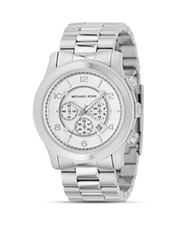 Michael Kors Oversized Chronograph Watch 44Mm Silver