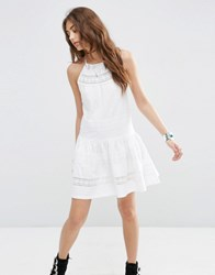 Asos Cotton Mini Sundress With Lace Inserts White