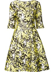 Oscar De La Renta Abstract Floral Print Dress Yellow Orange