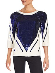 Naeem Khan Silk Sequin Top Ink White