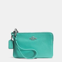 Coach Embossed Small Corner Zip Wristlet In Leather Silver Aqua
