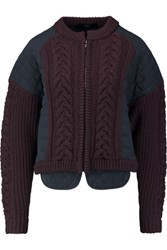 Tibi Cable Knit And Quilted Silk Jersey Jacket Burgundy