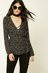 Forever 21 Abstract Print Peplum Blouse Black Taupe