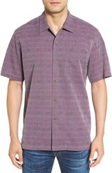 Tommy Bahama Men's 'Geo Rific Jacquard' Original Fit Silk Camp Shirt Rum Berry